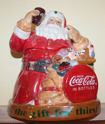 Coca Cola Coke Cookie Jar Santa Claus Gift for Thirst Cavanagh In Box New Disc