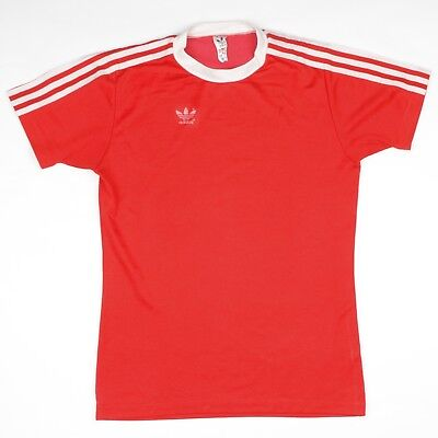 VINTAGE '80 Adidas Trikot Jersey Gr 5/6 M Made in West Germany Rot Red Baumwolle