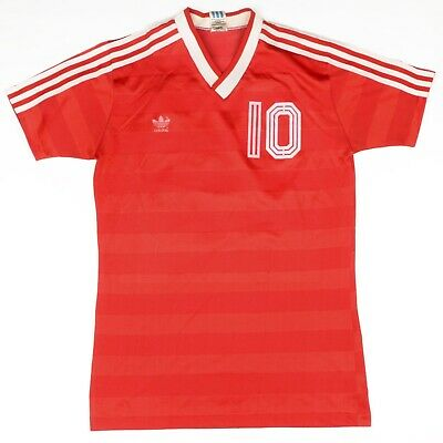 VINTAGE '80 Adidas Trikot #10 Jersey Gr 5/6 M Made in West Germany Rot Red VNeck