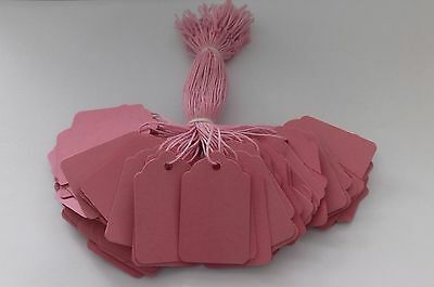 100 Pink Strung Price Tags 45Mm X 28Mm Swing Tickets Gift Labels