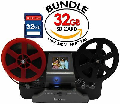 """Wolverine 8mm and Super8 Reels Movie Digitizer with 2.4"""" LCD & 32GB Memory Card"""