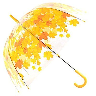 Automatic Open Yellow Leaves Bubble Dome Shape Clear Umbrella