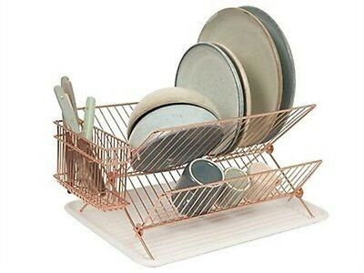 COPPER 2 TIER HIGH QUALITY  WIRE DISH RACK  Dish Drainer with Tray