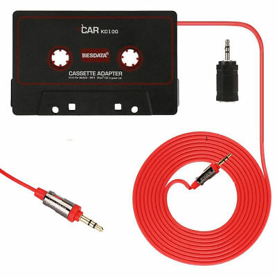 Car Audio Tape Cassette 3.5mm AUX Jack Adapter Cable Cord for iPod MP3 Phone CD
