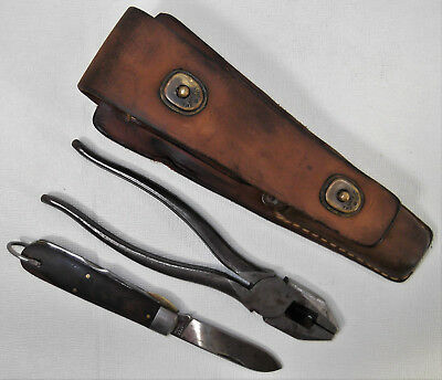 WW2 US ARMY Signal Corps Linemans CS-34 Leather Pouch Plier & Ulster Knife Kit