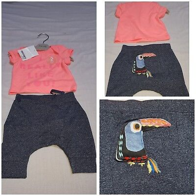 NEW* BNWT NEXT Baby Girl Newborn 0-1 3-6 Cotton Toucan Tshirt & Leggings Set