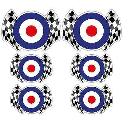 MOD CHEQUERED FLAG LAMINATED STICKER SET Scooter Moped RAF roundel