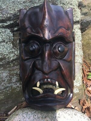 vintage Carved Wood Japan Hannya Oni Monster Demon Mask w Fangs