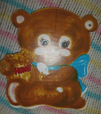 Vintage Nursery Picture Wooden Wall Hanging Brown Honey Bear Wall Room Decor