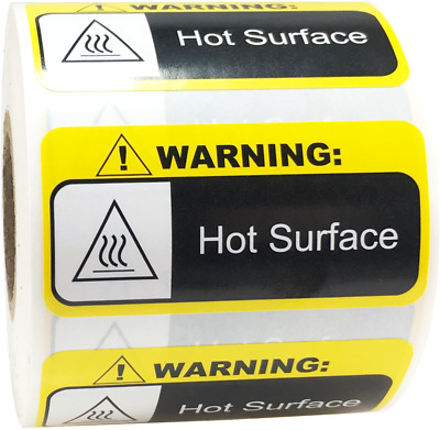 Warning Hot Surface Labels 1 x 2 Inch 500 Adhesive Stickers
