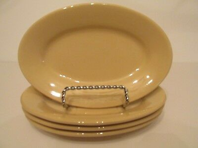 Four Vintage Buffalo China Small Oval Beige Tan Restaurant Ware Platters