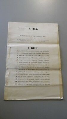 1856 United States S295 SENATE BILL Original Copy PATENT LAW String Bound RARE!