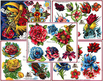 "Damon Conklin Flowers Tattoo Flash Set 10 Sheets with Lines 11x14"" Reaper, Cross"