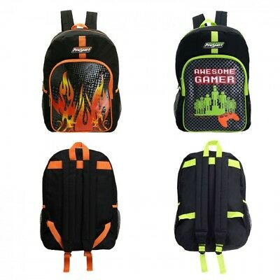 17 Inch Boys Backpacks in Gamer and Flame Assorted Prints - Case of 24