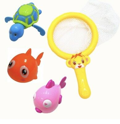 3Pcs Bath Toys Animals Fish & Turtle Pool Toy  Wind Up Swimming Tub Baby Gift