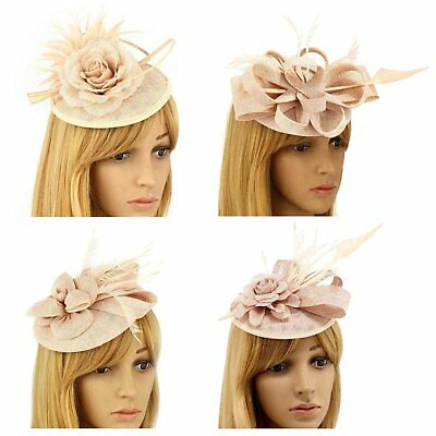 Nude Fascinator Hat Clip Headband Feather Flower Wedding Ladies Day Races New