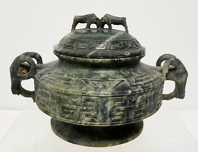 Antique Chinese Carved Soapstone Jade Like Rams Archaic Archaistic Censer Taotie