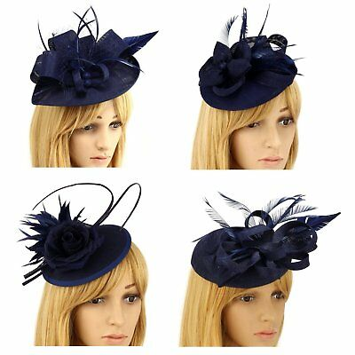 Navy Blue Nude Fascinator Hat Clip Headband Feather Wedding Ladies Day Races New
