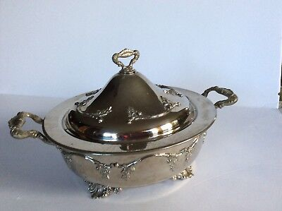 Vintage Silver Plate Casserole Dish With Lid Silverplated