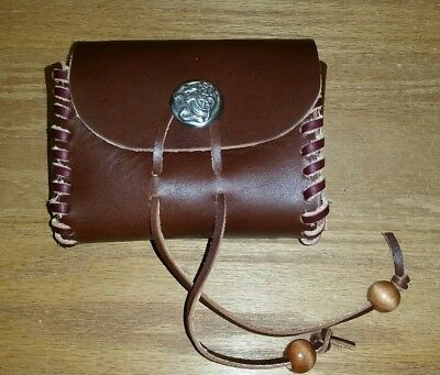 Leather hand laced pouch, renaissance festival, costume, cosplay, Larp 481422