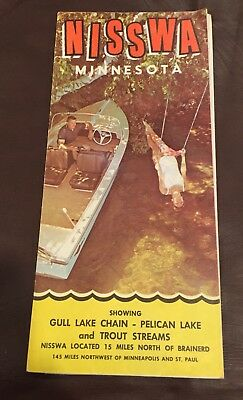 VINTAGE 1960's NISSWA MINNESOTA LAKES REGION BROCHURE MAP