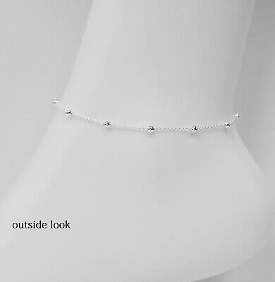 Solid 925 Sterling Silver 1.7mm Thin Italian Round Rolo Cable Link Chain Anklet Fine Anklets