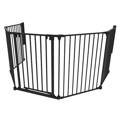 Black 6 Panel Extra Large Steel Child Baby Safety Fireplace Screen Barrier Gate