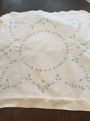 Pillow Sham Cover White Embroidered Linen Flowers and Bows  BEAUTIFUL!