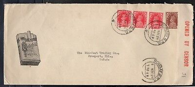 COVER- INDIA TO  U.S.A. OPENED by CENSOR - CHESTERFIELD CIGARETTES 1939