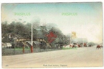 Old Postcard Tank Road Railway Station Singapore Malaya Vintage 1910-20