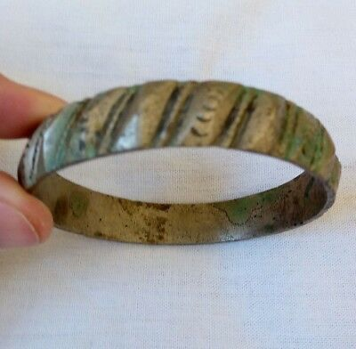 ancient Roman solid silver,nice ancient Medieval bracelet,carved and decorated