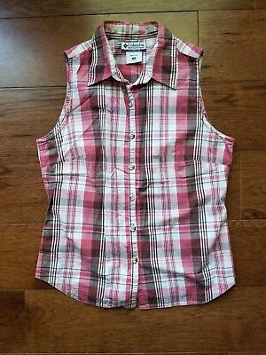 e2be14349 Columbia Women's Sleeveless Button Up Collared Tank Top Shirt Pink Plaid  Size S