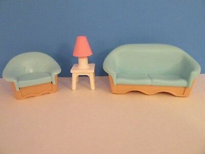 Fisher Price Loving Family Bathroom LIVING ROOM CHAIR, TABLE U0026 LAMP, BLUE  COACH
