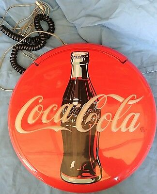"""Nice Coca Cola Coke 12"""" Round Lighted Phone Also Doubles As Sign Telephone"""