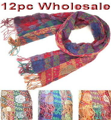 12pc Wholesale Women Ladies Pleated Bubble Warm Winter Scarves Mixed Color Scarf