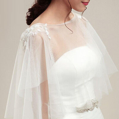 Charming Fashion Shawl Cape Wedding Bridal Bolero Jacket Lace Tulle Cloak