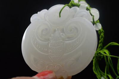 100% China Hand carved natural white Jade Statue Pendant Bat  Necklaces
