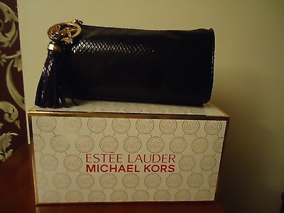 Estee Lauder Limited Edition Michael Kors Faux Snakeskin Clutch Bag Gunmetal New