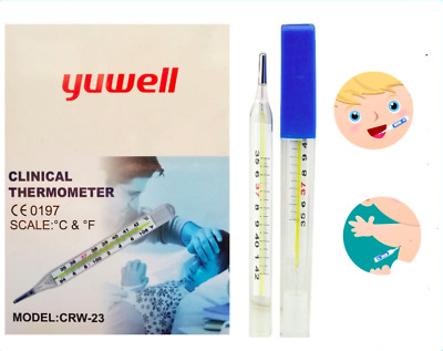12 Pcs New Brand A Level Medical Classic Glass Clinical Oral Armpit Thermometer