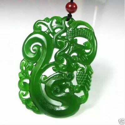 China hand-carved Green jade dragon Phoenix Pendant Necklace Amulet
