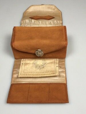 antique sewing roll up kit cabochon thimble leather sewing prop collectible