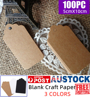 100Pcs Price Labels Cards Kraft Paper Hang Tags Gift Party Art Business 3Colors