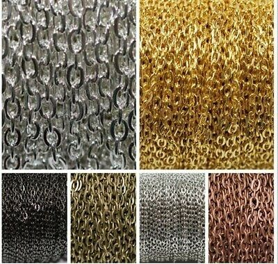 5m/100m Silver Golden Plated Cable Open Link Iron Metal Chain Findings 6Colors