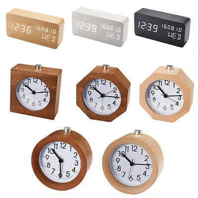 Classic Small Round Silent table Solid Wood Square pointer Alarm Clock, Lig P5G2