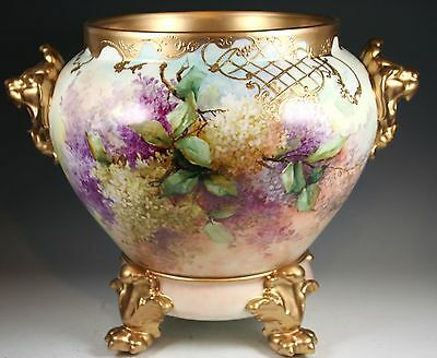 LIMOGES FRANCE Lions Handled Jardiniere with White Lilacs Heavy Gold