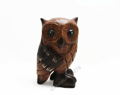 "Hand Carved  Wooden Owl 5"" tall, Home & Office Decor, Cute Bird - NEW"
