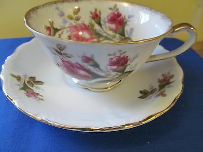Vintage Royal Rose, Fine China Of Japan, Tea Cup and Saucer With Gold Trim  (#A)