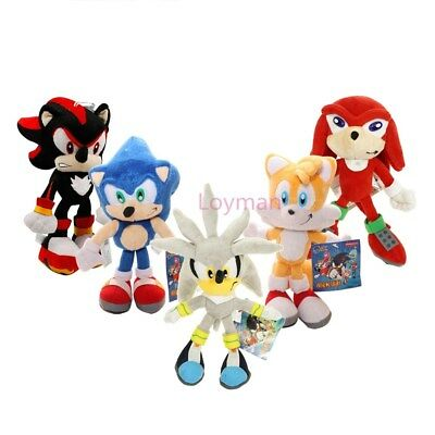 """Sonic The Hedgehog Shadow Silver Knuckles Tails Plush Doll Animal Stuffed Toy 8"""""""