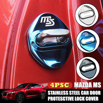 4X MS MAZDASPEED Door Chrome Winning Case Stainless For MAZDA 2 3 6 RX8 MX5