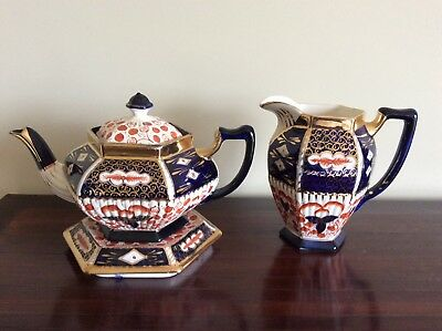 Imari hexagon teapot and stand & 1 jug hand painted deep blue gold orange